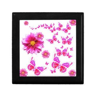 Fuchsia Pink Dahlia's & Butterflies white Pattern Gift Box