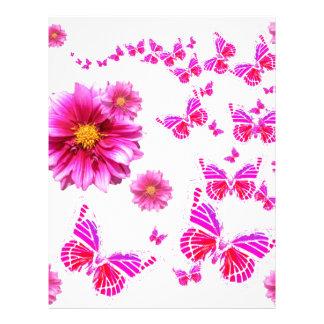 Fuchsia Pink Dahlia's & Butterflies white Pattern Letterhead