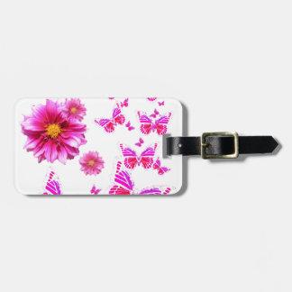 Fuchsia Pink Dahlia's & Butterflies white Pattern Luggage Tag