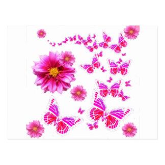 Fuchsia Pink Dahlia's & Butterflies white Pattern Postcard