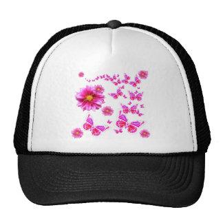 Fuchsia Pink Dahlia's & Butterflies white Pattern Trucker Hat