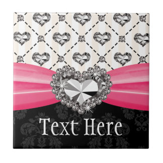 Fuchsia Pink Diamond Heart Ceramic Tile Trivet