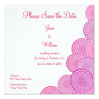 Fuchsia Pink Flowers Save the Date Announcement