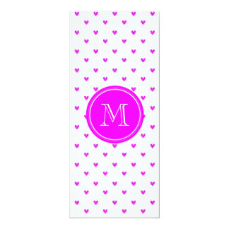 Fuchsia Pink Glitter Hearts with Monogram Card