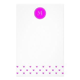 Fuchsia Pink Glitter Hearts with Monogram Stationery