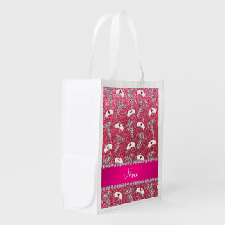Fuchsia pink glitter nurse hats silver caduceus reusable grocery bags
