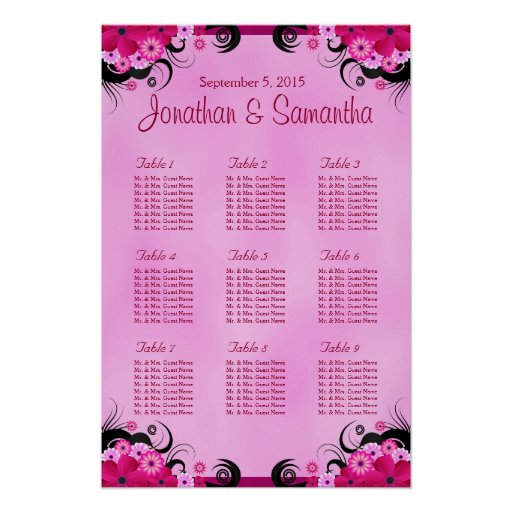 Fuchsia Pink Hibiscus Wedding Table Seating Charts Print