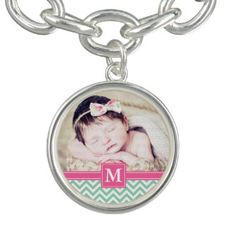 Fuchsia Pink Mint Green Chevron Floral Monogrammed Charm Bracelets