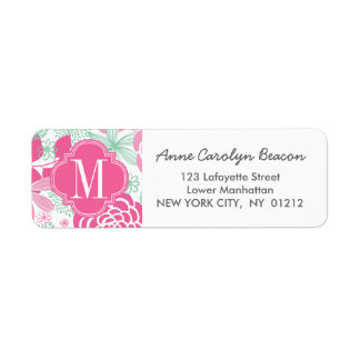 Fuchsia Pink Mint Green Girly Floral Personalized
