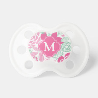 Fuchsia Pink Mint Green Girly Floral Personalized Pacifier