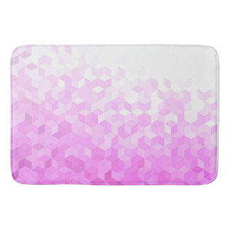 Fuchsia Pink Modern Girly Cube Gradient Bath Mat