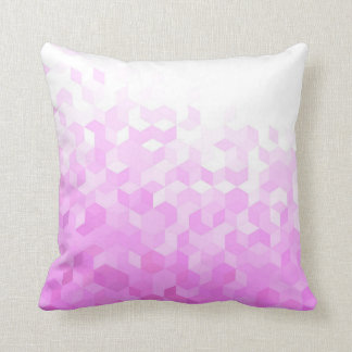 Fuchsia Pink Modern Girly Cube Gradient Throw Pillow