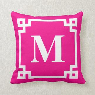 Fuchsia Pink Modern Greek Key Border Monogram Throw Pillow
