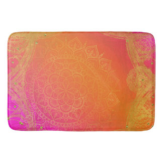 Fuchsia Pink Orange & Gold Indian Mandala Glam Bath Mat
