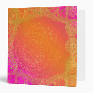 Fuchsia Pink Orange & Gold Indian Mandala Glam Binder