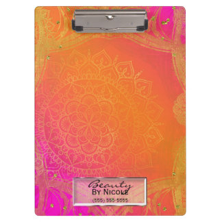 Fuchsia Pink Orange & Gold Indian Mandala Glam Clipboard