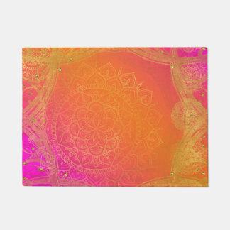 Fuchsia Pink Orange & Gold Indian Mandala Glam Doormat