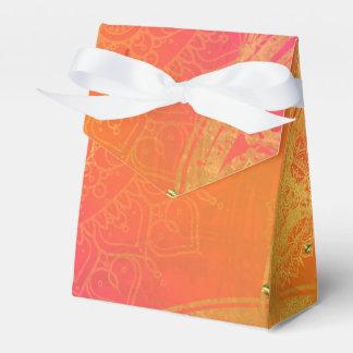 Fuchsia Pink Orange & Gold Indian Mandala Glam Favor Box
