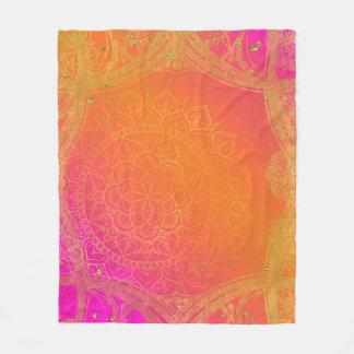 Fuchsia Pink Orange & Gold Indian Mandala Glam Fleece Blanket