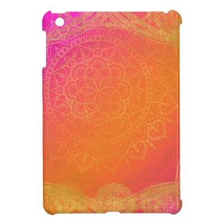 Fuchsia Pink Orange & Gold Indian Mandala Glam iPad Mini Cover