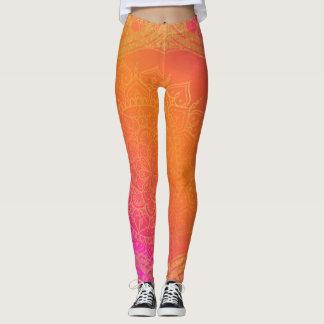 Fuchsia Pink Orange & Gold Indian Mandala Glam Leggings