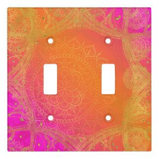 Fuchsia Pink Orange & Gold Indian Mandala Glam Light Switch Cover