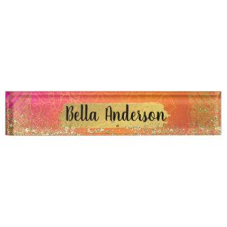 Fuchsia Pink Orange & Gold Indian Mandala Glam Nameplate