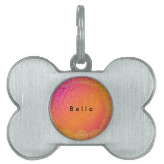 Fuchsia Pink Orange & Gold Indian Mandala Glam Pet ID Tag