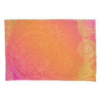 Fuchsia Pink Orange & Gold Indian Mandala Glam Pillowcase