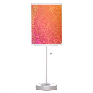 Fuchsia Pink Orange & Gold Indian Mandala Glam Table Lamp