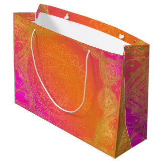 Fuchsia Pink Orange & Gold Indian Mandala Party Large Gift Bag