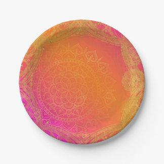 Fuchsia Pink Orange & Gold Indian Mandala Party Paper Plate