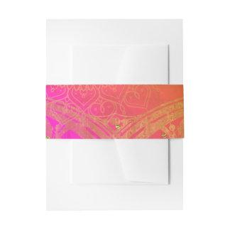 Fuchsia Pink Orange Gold Indian Mandala Wedding Invitation Belly Band