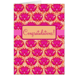 Fuchsia Pink Orange Parisian Damask Congratulation Card