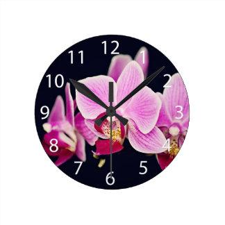 Fuchsia Pink Orchid Round Clock