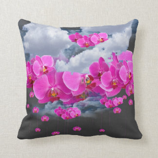 FUCHSIA PINK ORCHID  STORM THROW PILLOW