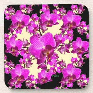 Fuchsia Pink Orchids Cream & Black Pattern Gifts Drink Coaster
