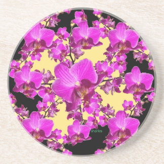 Fuchsia Pink Orchids Cream & Black Pattern Gifts Drink Coasters