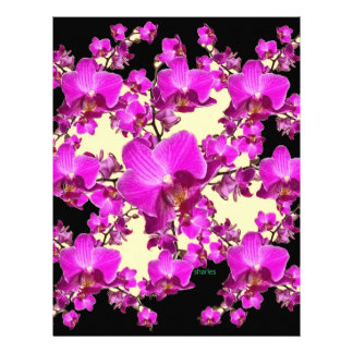 Fuchsia Pink Orchids Cream & Black Pattern Gifts Personalized Letterhead