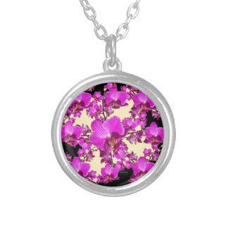 Fuchsia Pink Orchids Cream & Black Pattern Gifts Silver Plated Necklace