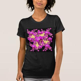 Fuchsia Pink Orchids Cream & Black Pattern Gifts T-Shirt