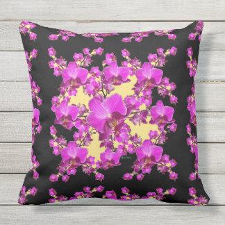 Fuchsia Pink Orchids Cream & Black Pattern Throw Pillow