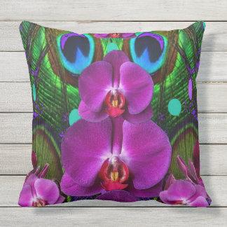 Fuchsia Pink Orchids Green Pattern Art Throw Pillow