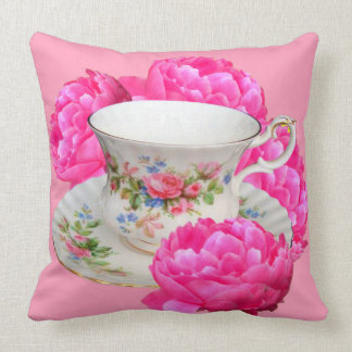 FUCHSIA PINK PEONIES TEA TIME THROW PILLOW