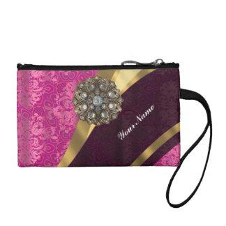 Fuchsia pink personalized pretty damask pattern change purse
