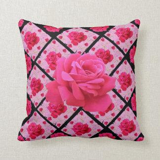 FUCHSIA PINK ROSE PATTERNS &  BLACK GARDEN ART THROW PILLOW