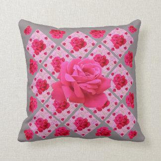 FUCHSIA PINK ROSE PATTERNS & GREYGARDEN ART THROW PILLOW