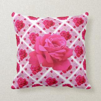 FUCHSIA PINK ROSE PATTERNS &  WHITE GARDEN ART THROW PILLOW