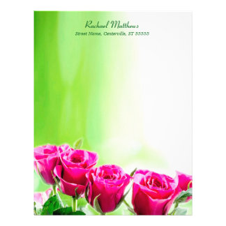 Fuchsia Pink Roses on Light Green Background Personalized Letterhead