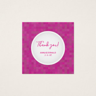 Fuchsia pink thank you mosaic card. square business card